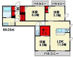 べレオ横峰[1階]の間取り