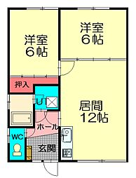NNマンション[A6号室]の間取り