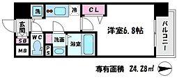 レオンコンフォート都島 11階1Kの間取り