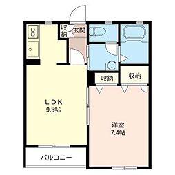 フルールI[2階]の間取り