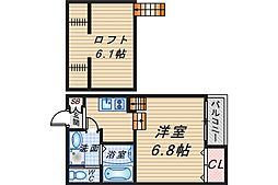 LA CACHETTE OKAMACHI[201号室]の間取り