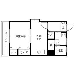 栗木第8ビル[4階]の間取り