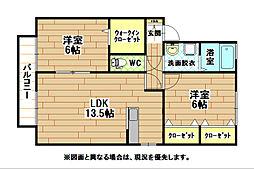 福岡県北九州市八幡西区永犬丸東町3丁目の賃貸アパートの間取り