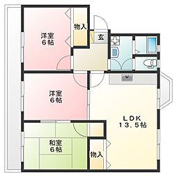 第1コーポHAMADA[3階]の間取り