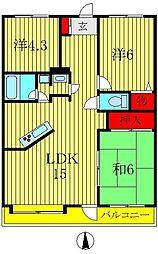エスポワール八柱[7階]の間取り