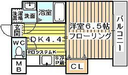 大阪府大阪市東淀川区下新庄2丁目の賃貸マンションの間取り