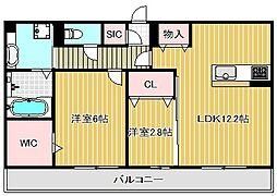 滋賀県栗東市小柿10丁目の賃貸アパートの間取り