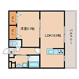 近鉄天理線 天理駅 バス10分 豊井下車 徒歩3分の賃貸マンション 3階1LDKの間取り