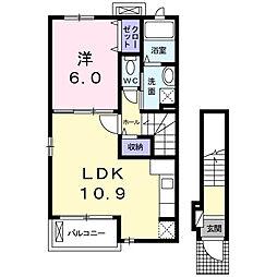 ドルフ・レーベン I 2階1LDKの間取り
