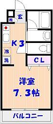 千葉県松戸市三矢小台2の賃貸マンションの間取り