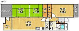 近鉄南港ガーデンハイツ24号 6階3LDKの間取り