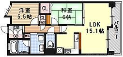 エスリード京都洛南 8階2LDKの間取り