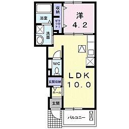 JR宇野線 備前田井駅 徒歩7分の賃貸アパート 1階1LDKの間取り