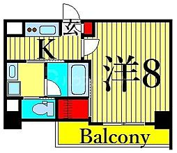 JR山手線 日暮里駅 徒歩11分の賃貸マンション 7階1Kの間取り
