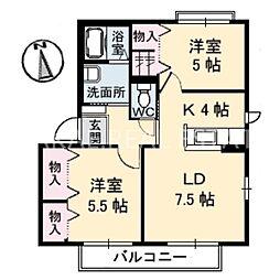 シャーメゾン小松島B[202号室]の間取り