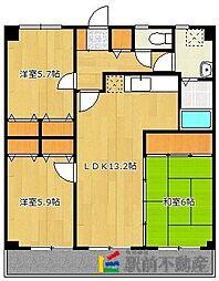 カサグランデ筑紫[1階]の間取り