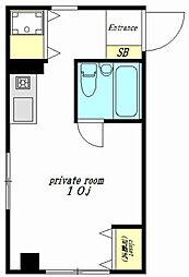 東急目黒線 奥沢駅 徒歩1分の賃貸マンション 3階ワンルームの間取り