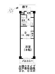 アートプラザ清武 3階1DKの間取り