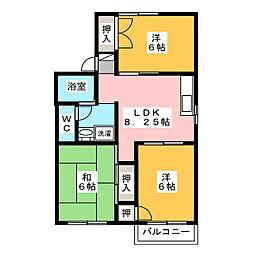 シャトレ三好B[2階]の間取り