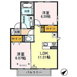 埼玉県鶴ヶ島市松ヶ丘3丁目の賃貸アパートの間取り