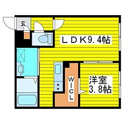 札幌市営東豊線 新道東駅 徒歩7分の賃貸マンション 1階1LDKの間取り
