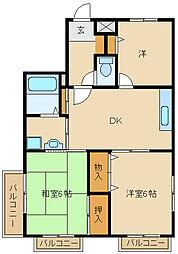 ロイヤル東園田[3階]の間取り