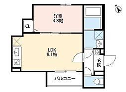 オーサムハウス三先 2階1LDKの間取り