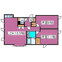 北海道札幌市北区拓北四条1丁目の賃貸アパートの間取り