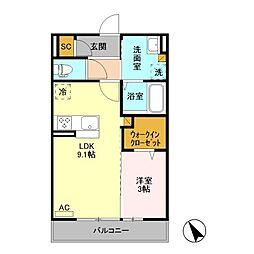 (仮)福居町プロジェクト C[2階]の間取り