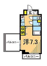 LUXENA東品川 4階1Kの間取り
