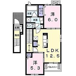 プランドール松富2[2階]の間取り