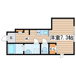 貝ヶ森1丁目新築アパート 1階1Kの間取り