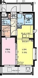 (仮称)潮見町YMマンション 2階1LDKの間取り