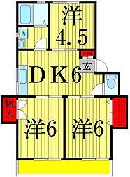 東京都足立区西新井本町4丁目の賃貸アパートの間取り