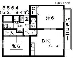 ALLEY島泉131(アレイ島泉131)[D202号室号室]の間取り