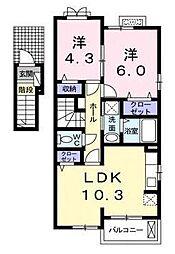 宮崎県宮崎市大字島之内の賃貸アパートの間取り