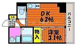 JR山陽本線 岡山駅 徒歩7分の賃貸マンション 6階1DKの間取り