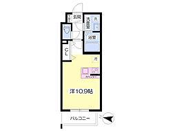 熊本市電A系統 健軍町駅 徒歩13分の賃貸マンション 1階ワンルームの間取り