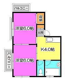 埼玉県新座市新堀2の賃貸アパートの間取り