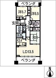 八事シティハウスフロントステージ807号[7階]の間取り