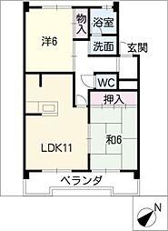 アイワコーポ[3階]の間取り