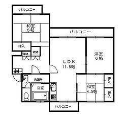 福岡県福岡市南区多賀2丁目の賃貸マンションの間取り