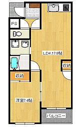 陽東4丁目 1LDK マンション[1階]の間取り