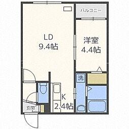 北海道札幌市西区発寒二条5丁目の賃貸マンションの間取り