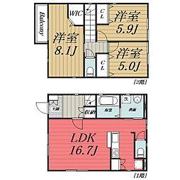 [一戸建] 千葉県千葉市若葉区桜木4丁目 の賃貸【/】の間取り