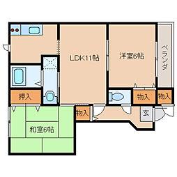 奈良県橿原市曽我町の賃貸アパートの間取り
