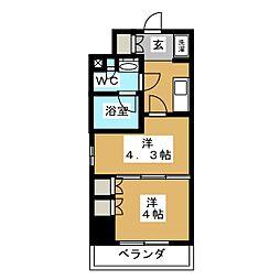 パークアクシス横濱大通り公園 10階2Kの間取り