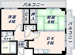 Osaka Metro中央線 深江橋駅 徒歩4分の賃貸マンション 3階2DKの間取り