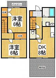 [タウンハウス] 東京都東大和市奈良橋6丁目 の賃貸【東京都 / 東大和市】の間取り