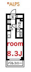 相鉄本線 天王町駅 徒歩9分の賃貸マンション 4階ワンルームの間取り